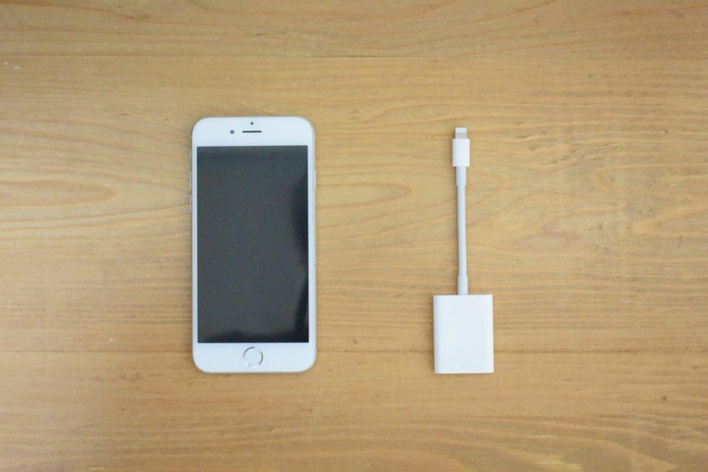 iphoneとSDカードリーダー