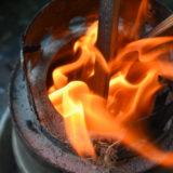 小枝に着火
